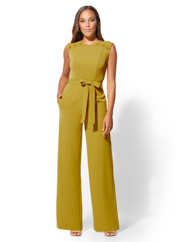 7th Avenue - Button-Accent Jumpsuit in Harlequin Green