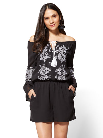 Embroidered Bell-Sleeve Romper in Black & White