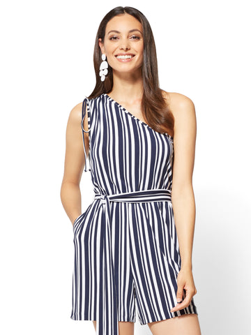 One-Shoulder Romper - Stripe in Grand Sapphire