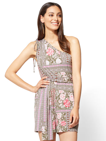 One-Shoulder Romper - Floral & Graphic Print in Union Square Green
