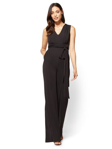 V-Neck Jumpsuit - Black  in Black