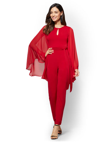 Statement-Sleeve Jumpsuit - Red in Flamenco Red
