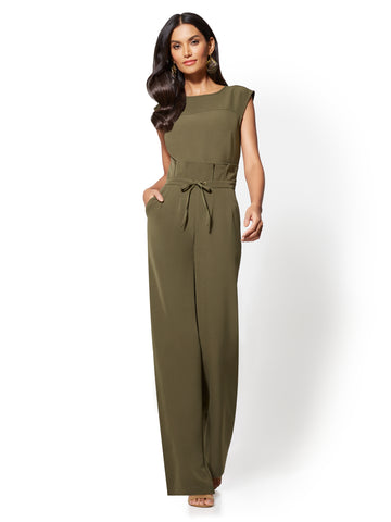 Paperbag-Waist Jumpsuit in Woodland Green
