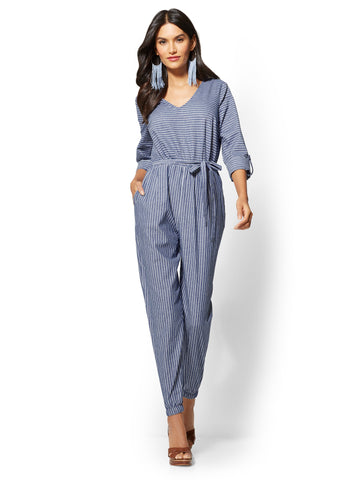 Blue Belted Jumpsuit - Mixed Stripe in Medium Blue