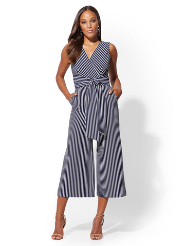 Navy Stripe Wrap Jumpsuit in Grand Sapphire