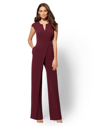 7th Avenue -  Seamed Wrap Jumpsuit in Pure Wine