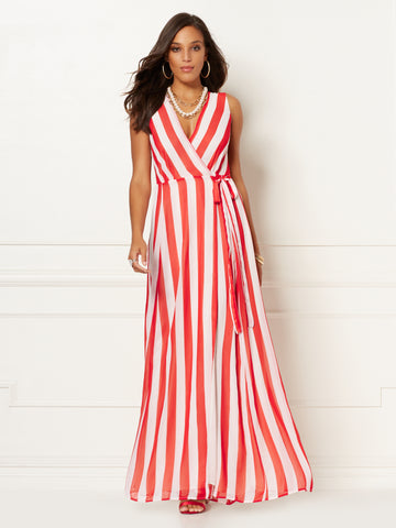 Stripe Allison Maxi Dress - Eva Mendes Collection in Beige