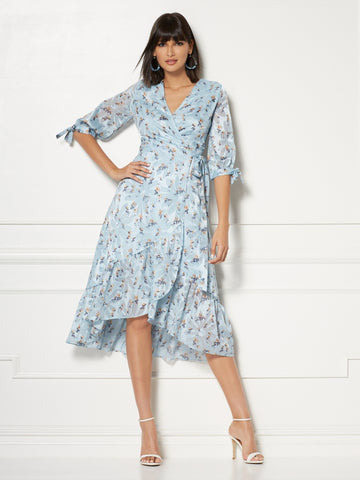 Cassidy Wrap Dress - Eva Mendes Collection in Light Blue