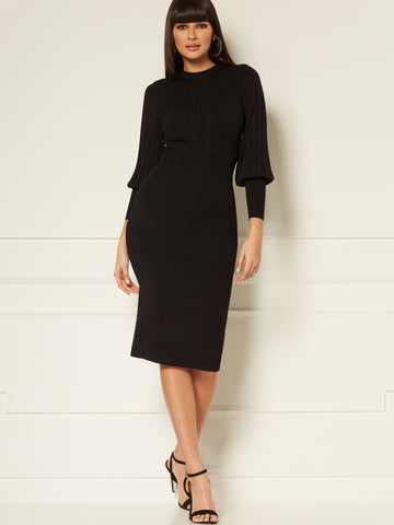 Marlo Sweater Sheath Dress - Eva Mendes Collection in Black