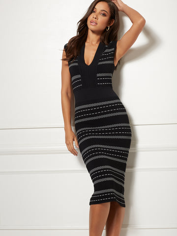 Aimee Dress - Eva Mendes Collection in Black/Winter White