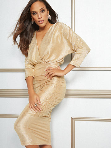 Eva Mendes Collection - Farah Metallic Midi Dress in Gold