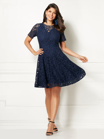 Eva Mendes Collection - Veronica Lace Dress in Dark Blue