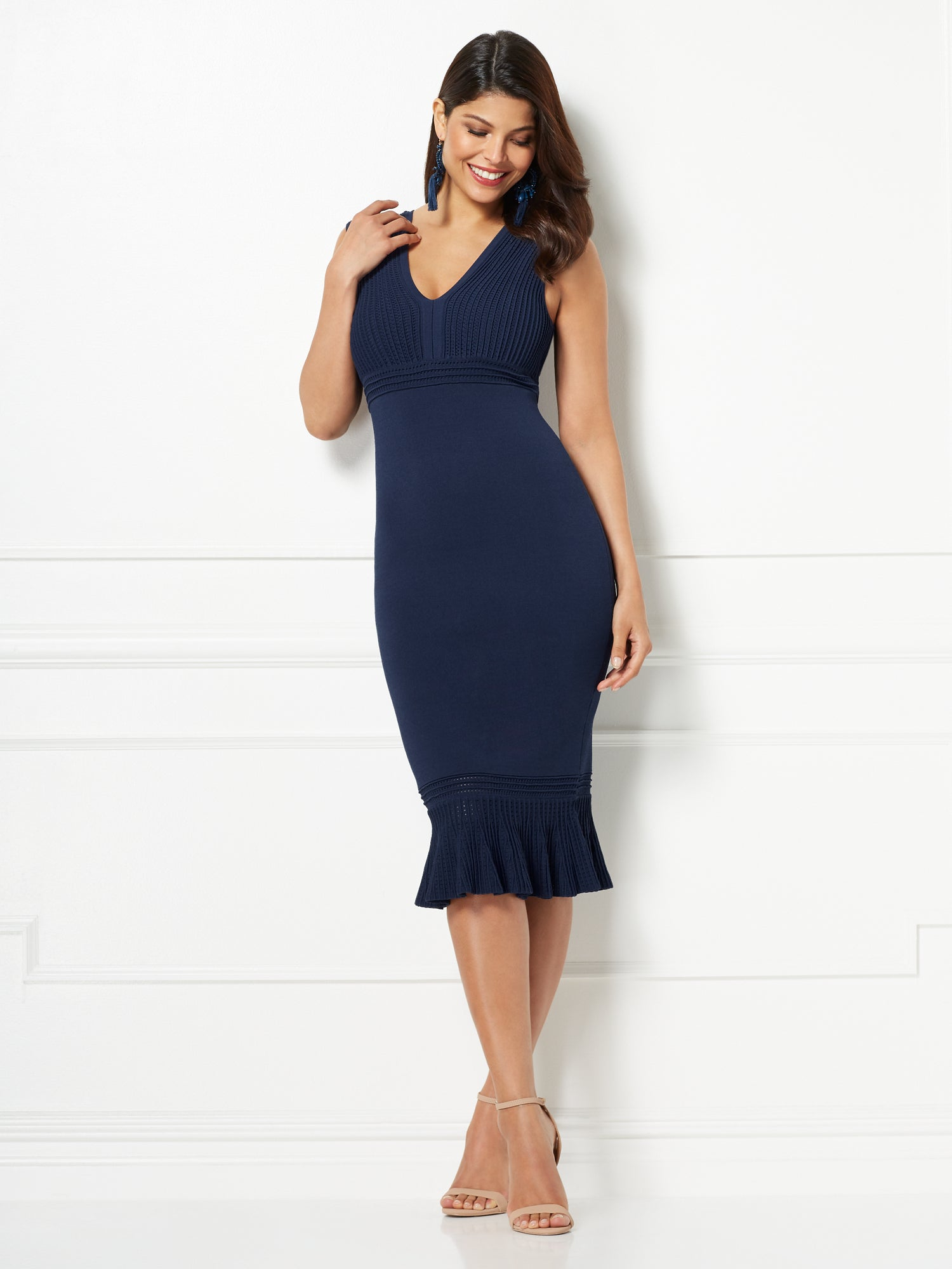 82711ccdac6 Eva Mendes Collection - Krista Sweater Dress in Dark Blue