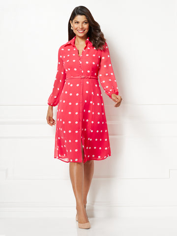 Eva Mendes Collection - Pia Dot Shirtdress in Tea Berry