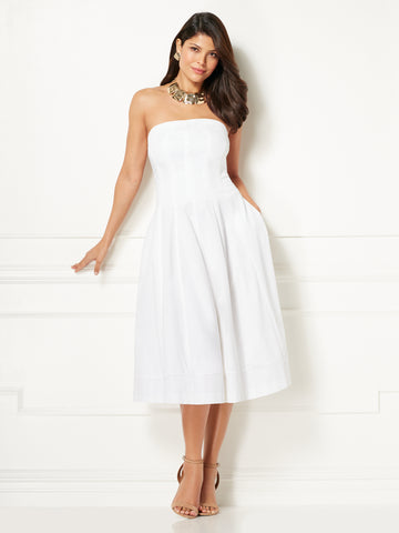 9877a567866eb9 New York & Company Eva Mendes Collection - Liv Strapless Dress in Optic  White
