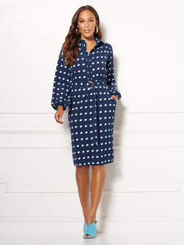NEW YORK   COMPANY Eva Mendes Collection - Patrice Shirtdress in Dark Blue ad64f3a9f