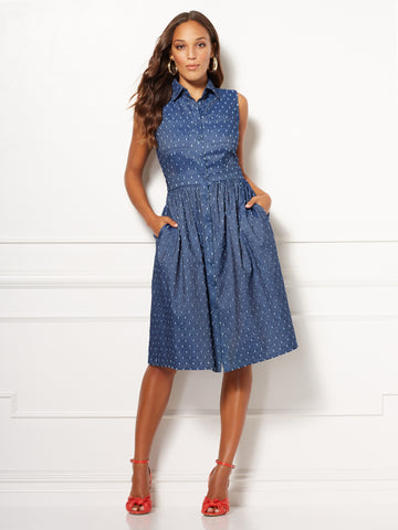 Eva Mendes Collection - Marcela Shirtdress in Dark Blue Wash