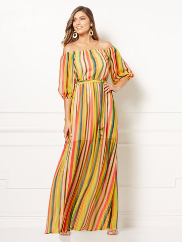 Eva Mendes Collection - Tatiana Maxi Dress in Stripes-Multi
