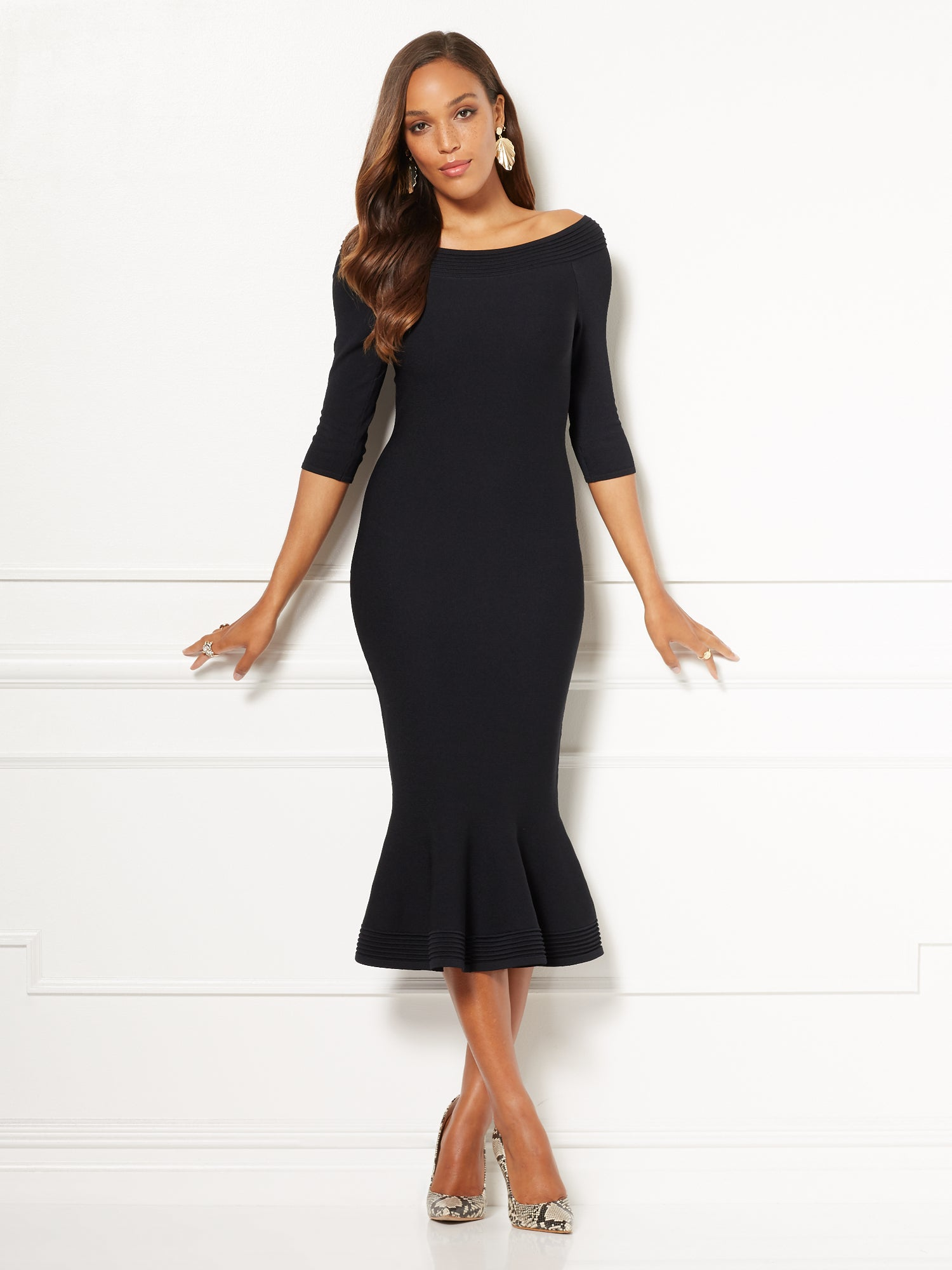 65237e005e9 Eva Mendes Collection - Melinda Sweater Dress in Black