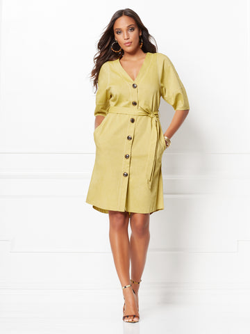 Christie Shirtdress - Eva Mendes Collection in Chartreuse