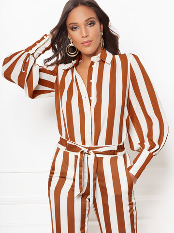 b7f98351ee3 New York   Company Kelsey Stripe Blouse - Eva Mendes Collection in Rodeo  Rust