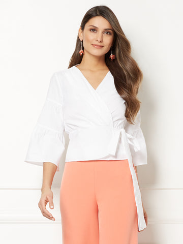 3b6313398093 New York   Company Eva Mendes Collection - Jordyn Wrap Blouse in Optic White