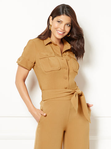 Eva Mendes Collection - Meg Camp Shirt in Toffee Crunch