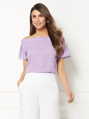 Eva Mendes Collection - Inez Print Blouse in Victory Violet