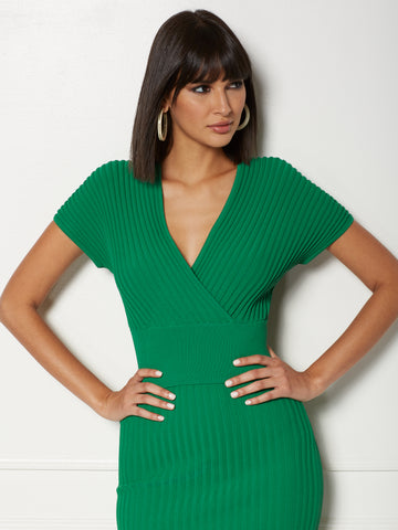 Isabel Wrap Sweater - Eva Mendes Collection in Awesome Green