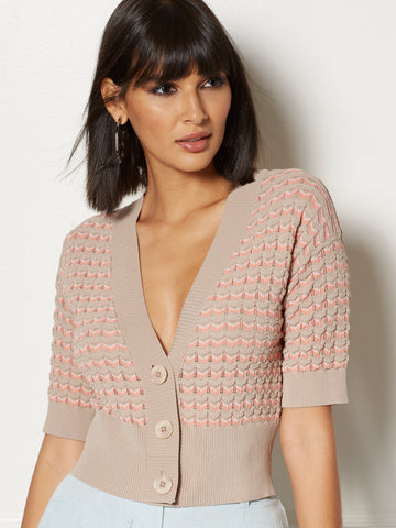 Tamlyn Stripe Cardigan - Eva Mendes Collection in Beige