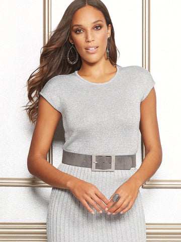 Eva Mendes Collection - Gina Metallic Sweater in Silver