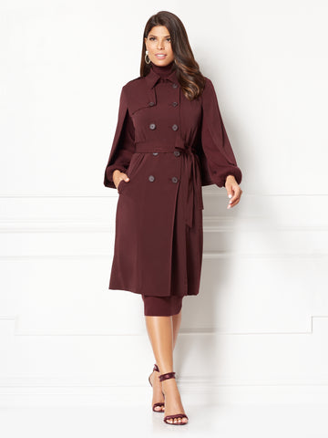 Eva Mendes Collection - Cabo Cape Trench in Black Cherry