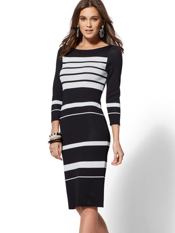 9f4acc242a New York   Company 7th Avenue - Black   White Stripe Sweater Dress ...