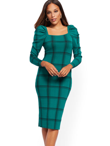 Plaid Puff-Sleeve Sweater Sheath Dress in Shaded Spruce