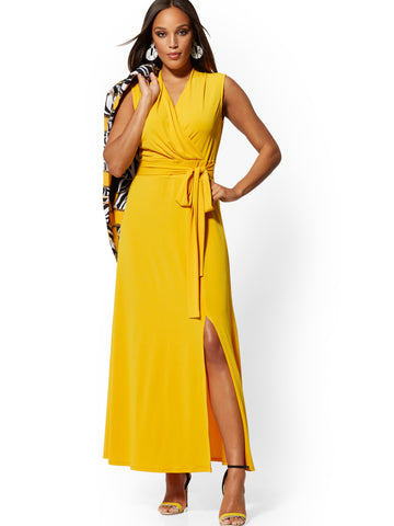Wrap Maxi Dress - 7th Avenue in Sundrenched Gold