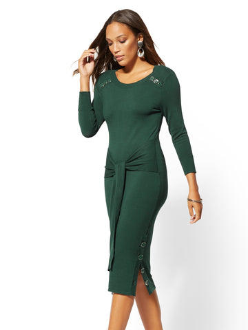 Button-Accent Tie-Front Sweater Dress in Velvet Green