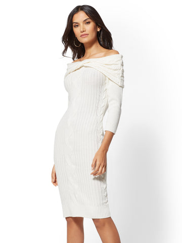 d98ef2f14f New York   Company Off-The-Shoulder Sweater Dress in Winter White