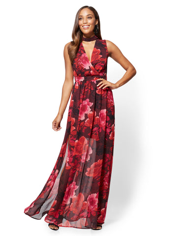 Choker Maxi Dress - Floral in Flamenco Red