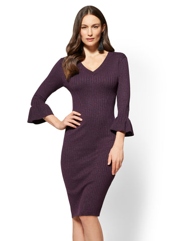 Metallic V-Neck Sweater Dress in Eggplant