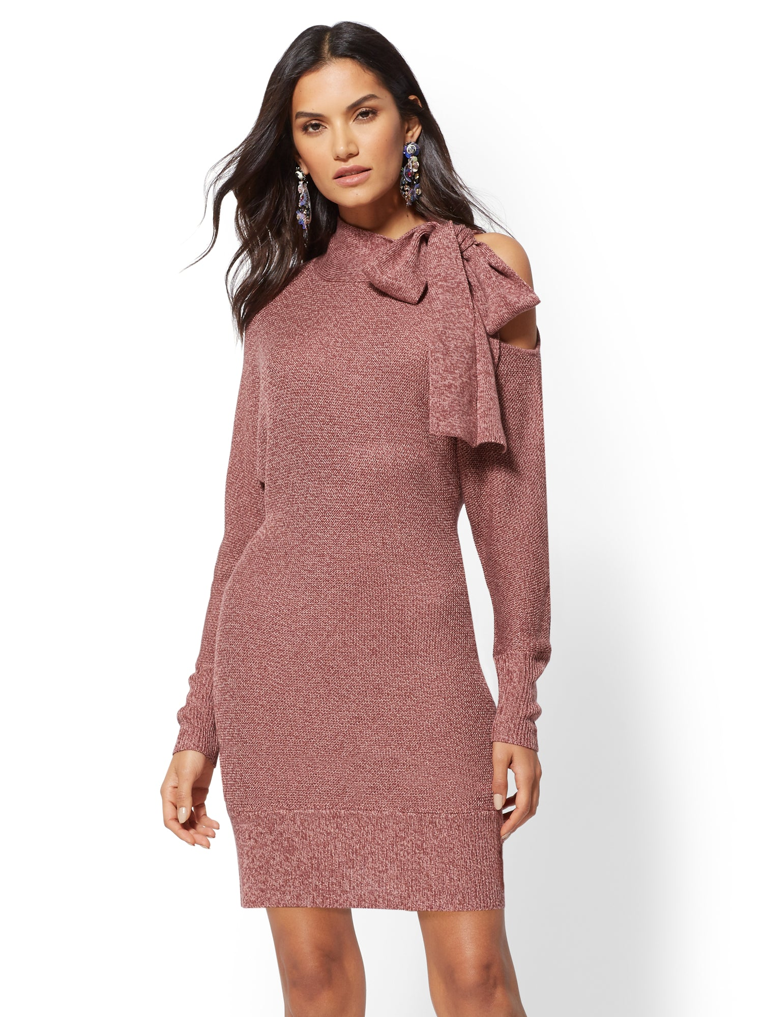 0fd44dcbb1d Bow-Accent Cold-Shoulder Sweater Dress in Berry Bliss
