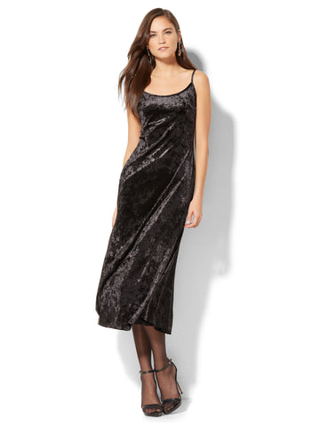 Velvet Midi Slip Dress in Black