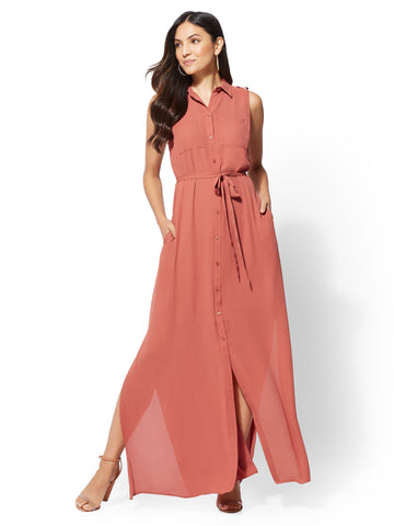 Maxi Shirtdress in Cinnabar Red