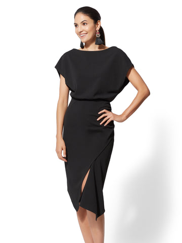 Asymmetrical-Hem Sheath Dress in Black