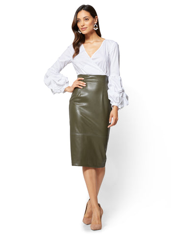 Bubble-Sleeve Faux-Leather Dress  in Optic White