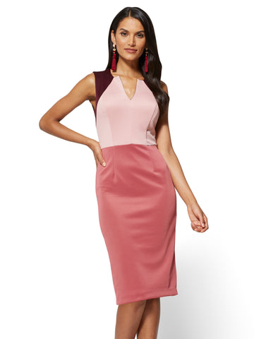 Colorblock Sheath Dress in Desert Rose