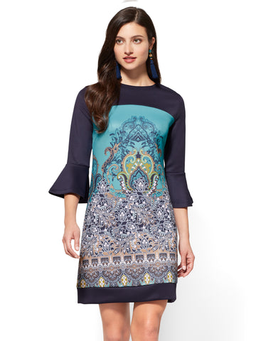 Colorblock Sheath Dress - Medallion Print in Grand Sapphire
