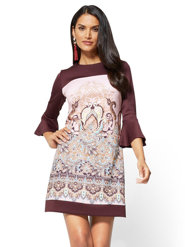 Colorblock Sheath Dress - Medallion Print in True Burgundy