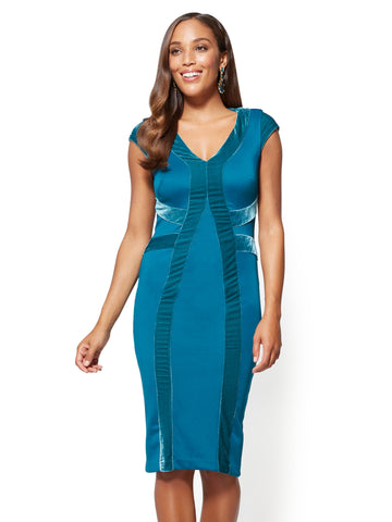 7th Avenue - Velvet-Stripe Sheath Dress in Teal Green