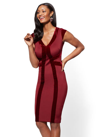 7th Avenue - Velvet-Stripe Sheath Dress in Classic Sangria
