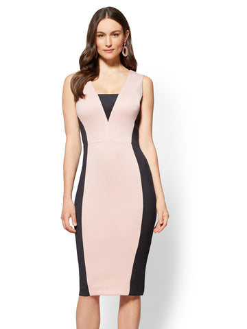 Colorblock Sheath Dress in Pink Honeybunch